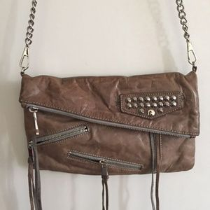 REBECCA MINKOFF Tan Leather Studded Foldover Cross